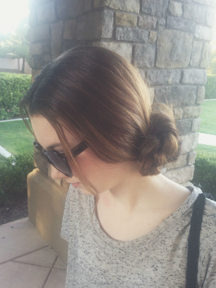 Loose side braided bun