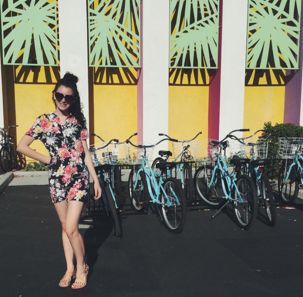 Beach cruisers & mint palms.