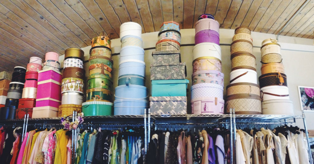 There were so many hat boxes in this thrift shop we went to.